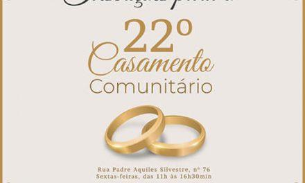Em março abrem as inscrições para o 22º Casamento Comunitário