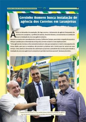 Gersinho Romero busca instalação de agência dos Correios em Laranjeiras