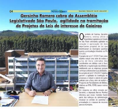 Gersinho Romero cobra do Poder Legislativo, agilidade na tramitação de Projetos de Leis de interesse de Caieiras