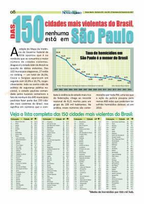 Das 150 cidades mais violentas do Brasil, nenhuma está em São Paulo
