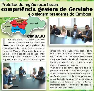 Prefeitos da região reconhecem competência gestora de Gersinho e o elegem presidente do Cimbaju