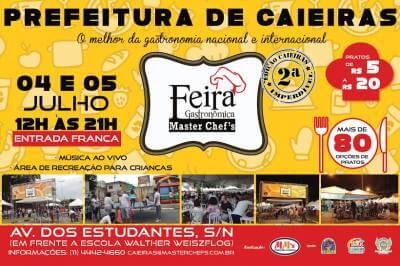 Caieiras receberá a 2ª edição da Feira Gastronômica Master Chef's nos dias 4 e 5 de julho
