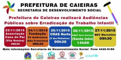 Prefeitura de Caieiras realizará Audiências Públicas sobre Erradicação do Trabalho Infantil