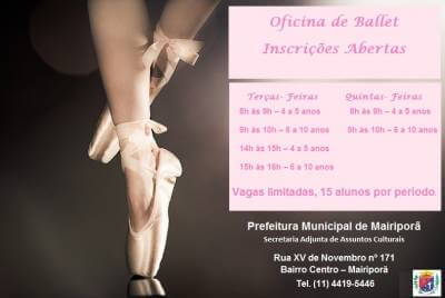 Prefeitura realiza inscrições para oficina de ballet