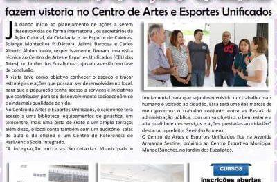 Secretários da Ação Cultural, da Cidadania e de Esporte de Caieiras fazem vistoria no Centro de Artes e Esportes Unificados