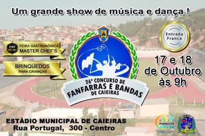 Caieiras recebe o 26º Concurso de Fanfarras e Bandas de Caieiras nos dias 17 e 18 de outubro
