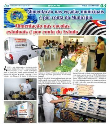 Alimentação nas escolas municipais é por conta do Município Alimentação nas escolas estaduais é por conta do Estado