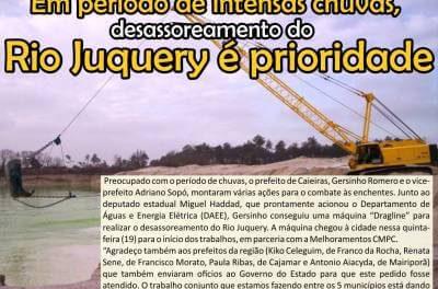 Em período de intensas chuvas, desassoreamento o Rio Juquery é prioridade