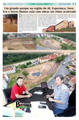 Um grande parque na região do Jd. Esperança, Nova Era e Novos Rumos está com obras em ritmo acelerado