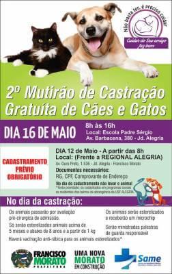 Prefeitura vai realizar 2º Mutirão Gratuito de Castração de Cães e Gatos em Francisco Morato no Jardim Alegria