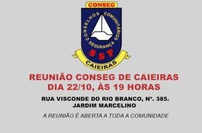 Conseg de Caieiras promove reunião com os moradores do Jardim Marcelino no dia 22 de outubro