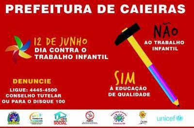Secretaria de Desenvolvimento Social de Caieiras realizará campanha contra o trabalho infantil