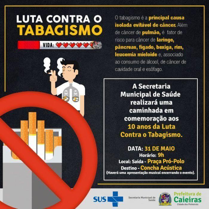 Secretaria da Saúde realizará caminhada para celebrar os 10 anos de Luta Contra o Tabagismo