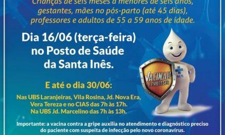Vacinação contra a gripe amanhã (16) no posto de saúde da Santa Inês