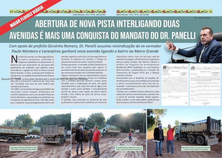 Abertura de nova pista interligando duas avenidas é mais uma conquista do mandato do Dr. Panelli