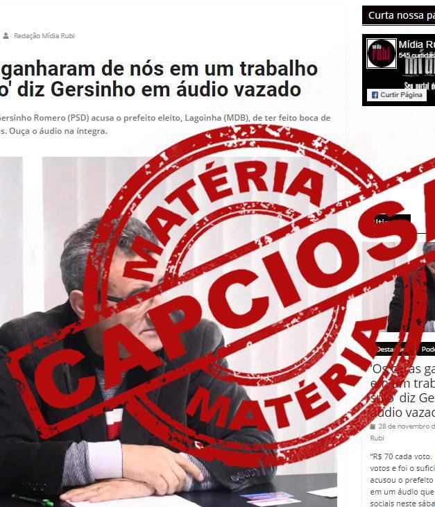 Em reportagem nitidamente capciosa, Mídia Rubi distorce narrativa de áudio vazado de Gersinho